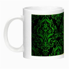 Damask1 Black Marble & Green Brushed Metal Night Luminous Mugs