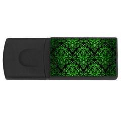Damask1 Black Marble & Green Brushed Metal Rectangular Usb Flash Drive