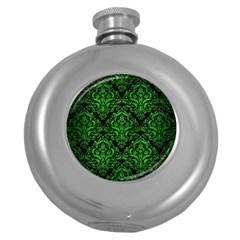 Damask1 Black Marble & Green Brushed Metal Round Hip Flask (5 Oz)
