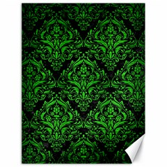 Damask1 Black Marble & Green Brushed Metal Canvas 18  X 24