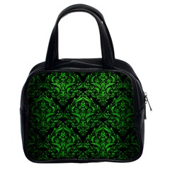 Damask1 Black Marble & Green Brushed Metal Classic Handbags (2 Sides)