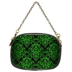 Damask1 Black Marble & Green Brushed Metal Chain Purses (one Side)