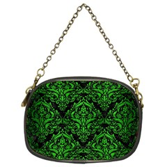 Damask1 Black Marble & Green Brushed Metal Chain Purses (two Sides)