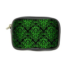 Damask1 Black Marble & Green Brushed Metal Coin Purse