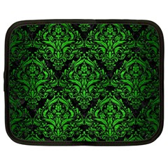 Damask1 Black Marble & Green Brushed Metal Netbook Case (xl)