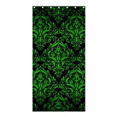 Damask1 Black Marble & Green Brushed Metal Shower Curtain 36  X 72  (stall)