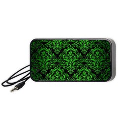 Damask1 Black Marble & Green Brushed Metal Portable Speaker