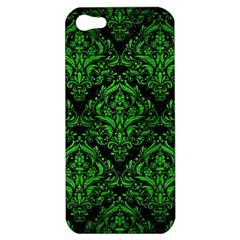 Damask1 Black Marble & Green Brushed Metal Apple Iphone 5 Hardshell Case