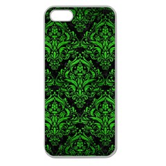 Damask1 Black Marble & Green Brushed Metal Apple Seamless Iphone 5 Case (clear)