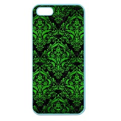 Damask1 Black Marble & Green Brushed Metal Apple Seamless Iphone 5 Case (color)