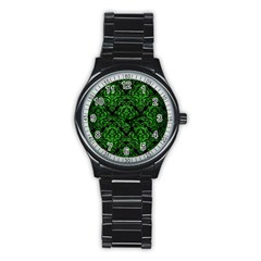Damask1 Black Marble & Green Brushed Metal Stainless Steel Round Watch