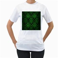 Damask1 Black Marble & Green Brushed Metal Women s T Shirt (white)