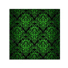 Damask1 Black Marble & Green Brushed Metal Small Satin Scarf (square)