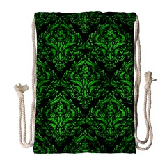 Damask1 Black Marble & Green Brushed Metal Drawstring Bag (large)