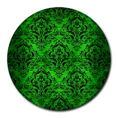 Damask1 Black Marble & Green Brushed Metal (r) Round Mousepads
