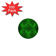 Damask1 Black Marble & Green Brushed Metal (r) 1  Mini Buttons (100 Pack)
