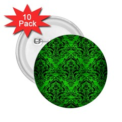 Damask1 Black Marble & Green Brushed Metal (r) 2 25  Buttons (10 Pack)