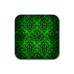 Damask1 Black Marble & Green Brushed Metal (r) Rubber Coaster (square)