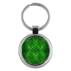 Damask1 Black Marble & Green Brushed Metal (r) Key Chains (round)