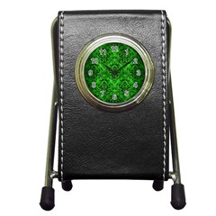 Damask1 Black Marble & Green Brushed Metal (r) Pen Holder Desk Clocks