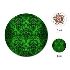 Damask1 Black Marble & Green Brushed Metal (r) Playing Cards (round)
