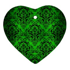 Damask1 Black Marble & Green Brushed Metal (r) Heart Ornament (two Sides)