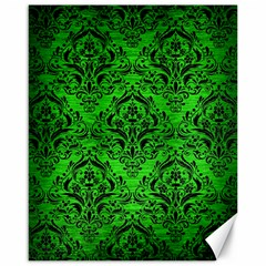 Damask1 Black Marble & Green Brushed Metal (r) Canvas 16  X 20