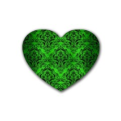 Damask1 Black Marble & Green Brushed Metal (r) Heart Coaster (4 Pack)