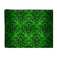 Damask1 Black Marble & Green Brushed Metal (r) Cosmetic Bag (xl)