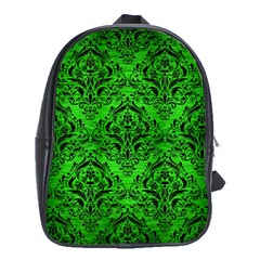 Damask1 Black Marble & Green Brushed Metal (r) School Bag (large)