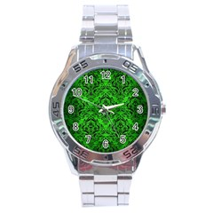 Damask1 Black Marble & Green Brushed Metal (r) Stainless Steel Analogue Watch