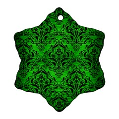 Damask1 Black Marble & Green Brushed Metal (r) Snowflake Ornament (two Sides)