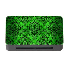 Damask1 Black Marble & Green Brushed Metal (r) Memory Card Reader With Cf
