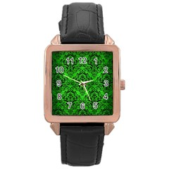 Damask1 Black Marble & Green Brushed Metal (r) Rose Gold Leather Watch