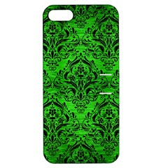 Damask1 Black Marble & Green Brushed Metal (r) Apple Iphone 5 Hardshell Case With Stand