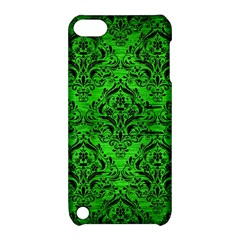 Damask1 Black Marble & Green Brushed Metal (r) Apple Ipod Touch 5 Hardshell Case With Stand