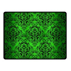 Damask1 Black Marble & Green Brushed Metal (r) Double Sided Fleece Blanket (small)
