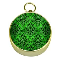 Damask1 Black Marble & Green Brushed Metal (r) Gold Compasses