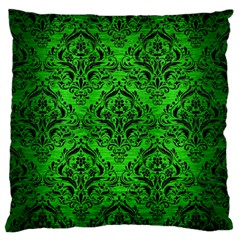 Damask1 Black Marble & Green Brushed Metal (r) Large Flano Cushion Case (two Sides)
