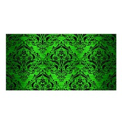 Damask1 Black Marble & Green Brushed Metal (r) Satin Shawl