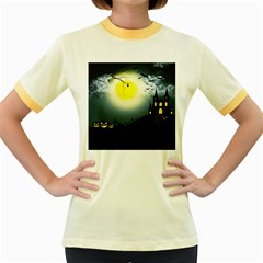 Halloween Landscape Women s Fitted Ringer T Shirts