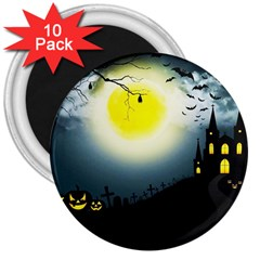Halloween Landscape 3  Magnets (10 Pack)