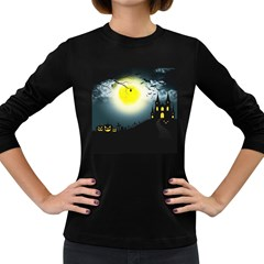 Halloween Landscape Women s Long Sleeve Dark T Shirts
