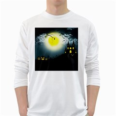 Halloween Landscape White Long Sleeve T Shirts