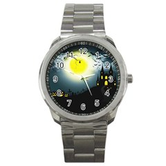 Halloween Landscape Sport Metal Watch