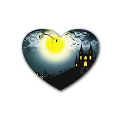 Halloween Landscape Heart Coaster (4 Pack)