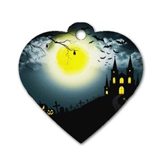 Halloween Landscape Dog Tag Heart (two Sides)