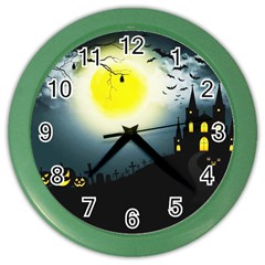 Halloween Landscape Color Wall Clocks