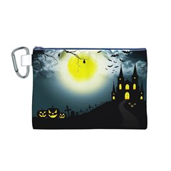 Halloween Landscape Canvas Cosmetic Bag (m)