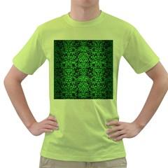Damask2 Black Marble & Green Brushed Metal Green T Shirt